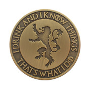 I Drink and I Know Things Lapel Pin Antique Gold Die Struck