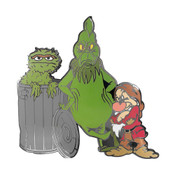 Oscar Grinch And Grumpy Lapel Pin Hard Enamel Black Nickel