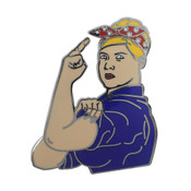 Pam the Riveter Lapel Pin Hard Enamel Black Nickel