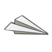 Paper Airplane Lapel Pin Hard Enamel Black Nickel