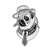Pug Life - Fedora Lapel Pin Hard Enamel Black Nickel