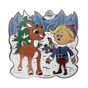 Rudolph The Red Nosed Reindeer Lapel Pin Hard Enamel Black Nickel