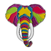 Elephant of Many Colors Lapel Pin Soft Enamel Silver