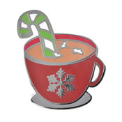 Christmas Hot Cocoa Lapel Pin Hard Enamel Silver
