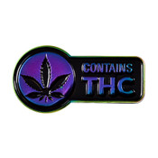 Contains THC Rainbow Lapel Pin Hard Enamel Rainbow Plating