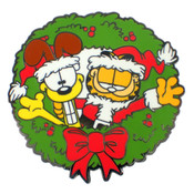 Garfield And Odie Christmas Lapel Pin Hard Enamel Black Nickel