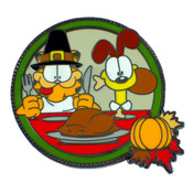 Garfield And Odie Thanksgiving Lapel Pin Hard Enamel Black Nickel