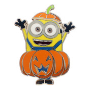 Minion Pumpkin Lapel Pin Hard Enamel Silver