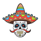 Sombrero Sugar Skull Lapel Pin Hard Enamel Black Nickel