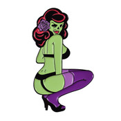 Zombie Pin Up Lapel Pin Soft Enamel Black Dyed Metal