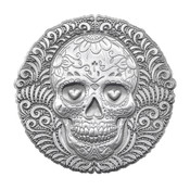 Metal Sugar Skull Lapel Pin 3D Diestruck Silver