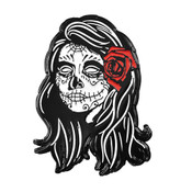Day of the Dead Girl Lapel Pin Soft Enamel Black Dyed Metal