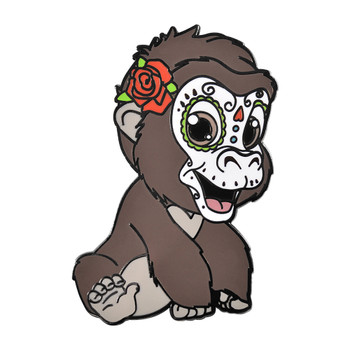 Baby Sugar Gorilla Lapel Pin Hard Enamel Black Nickel