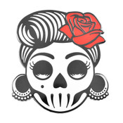 Rockabilly Sugar Skull Lapel Pin Soft Enamel Black Nickel
