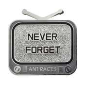 Ant Races Never Forget Lapel Pin Hard Enamel Silver