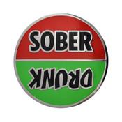 Drunk - Sober Lapel Pin Hard Enamel Silver