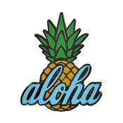 Aloha Pineapple Lapel Pin Hard Enamel Black Nickel