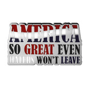 America Haters Lapel Pin Hard Enamel Silver