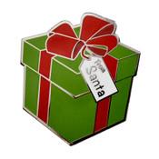 Christmas Present Lapel Pin Hard Enamel Silver