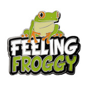 Feeling Froggy Lapel Pin Hard Enamel Silver