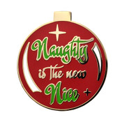 Naughty Is The New Nice Lapel Pin Hard Enamel Gold
