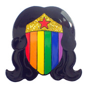Wonder Woman Face Pride Lapel Pin Soft Enamel Black Dyed Metal
