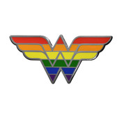 Wonder Woman WW Logo Pride Lapel Pin Hard Enamel Black Nickel