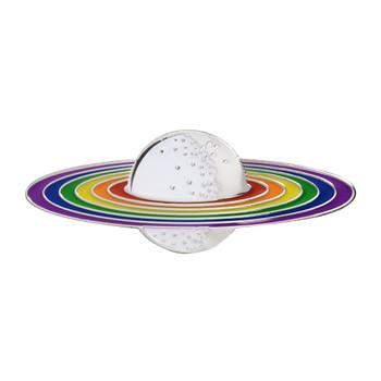 Rainbow Planet Lapel Pin Soft Enamel Silver