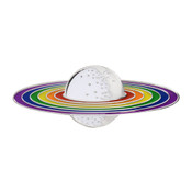 Rainbow Planet Lapel Pin Soft Enamel Silver