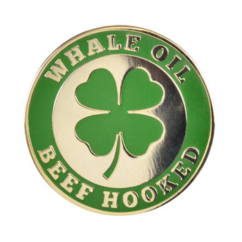 Whale Oil Beef Hooked Lapel Pin Hard Enamel Gold