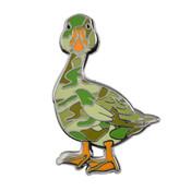 Camo Goose Lapel Pin Hard Enamel Silver
