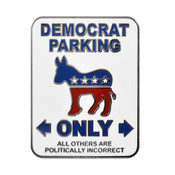Democrat - Parking Sign Lapel Pin Hard Enamel Silver