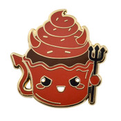 Devil Cupcake Lapel Pin Hard Enamel Gold