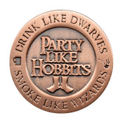 Drink Like Dwarves Lapel Pin Die Struck Antiqued Copper
