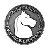 Hans Bubby White Knight Lapel Pin Soft enamel Antiqued Silver
