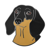 Dachshund Face Lapel Pin Hard Enamel Black Nickel