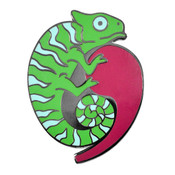 Comma Chameleon Lapel Pin Hard Enamel Black Nickel