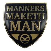 Manners Maketh Man Lapel Pin Hard Enamel Gold