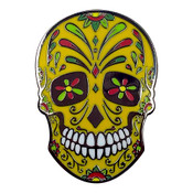 Mexican Sugar Skull Lapel Pin Hard Enamel Black Nickel