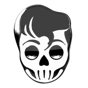 Rockabilly Greaser Skull Lapel Pin Hard Enamel Black Nickel