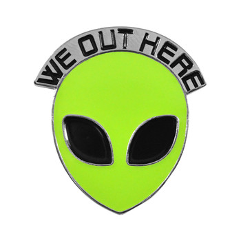 Alien Glow-in-the-dark soft enamel pin :: WE OUT HERE!