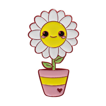 Anodized aluminum Cute Daisy in a Pot soft enamel pin