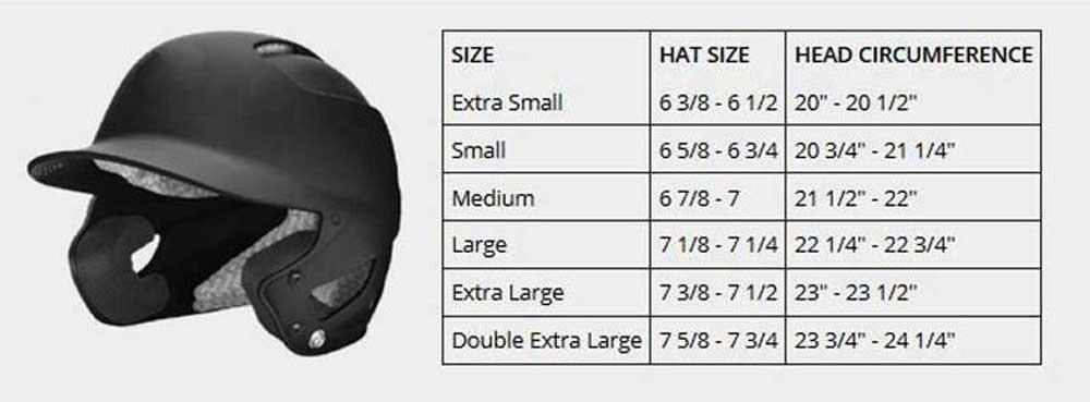 Helmet Size Chart from Sports Diamond