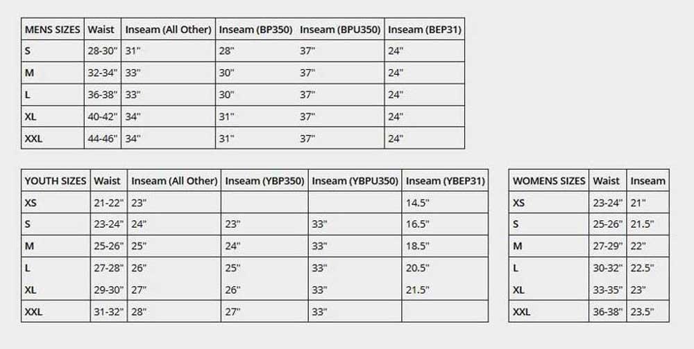 Baseball and Softball Pants Size Chart from Sports Diamond