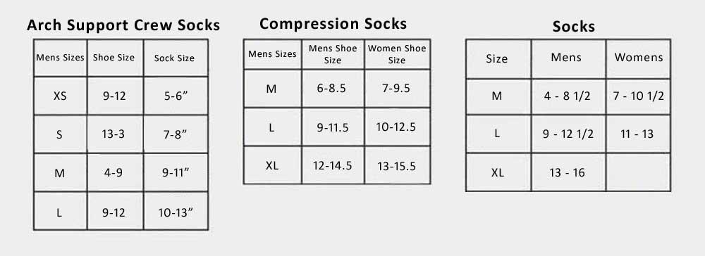 Socks Size Chart from Sports Diamond