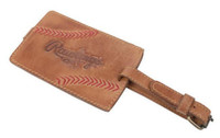 Rawlings Leather Luggage Tag Tan Calfskin Leather w/ Baseball Stitch MW420-204