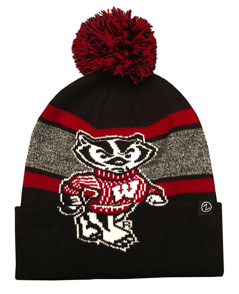 e796d4e3beb Zephyr Hats NCAA University of Wisconsin Badgers Bucky Mammoth Knit Beanie  Hat - Sports Diamond