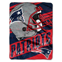"The Northwest NFL New England Patriots Deep Slant Plush Throw 46""x60"" Blanket"