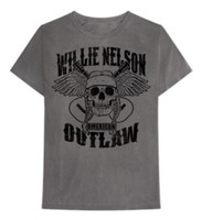 Willie Nelson Outlaw Skull T-Shirt Tee Rock n Roll Bands Tour Gray CMA ZRWN1001
