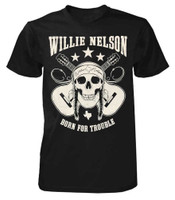 Willie Nelson Born for Trouble T-Shirt Tee Rock n Roll Bands Tour Skull ZRWN1012